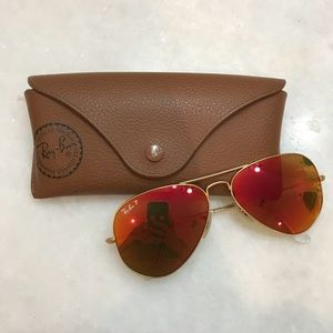 Red polarized ray ban sunglasses with case
